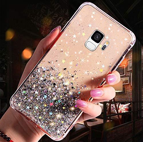 Handyhülle Kompatibel mit Samsung Galaxy S9 Glitzer Hülle Silikon Tpu Glänzend Bling Stern Muster Shiny Ultra dünn Weiche TPU Schutzhülle Stoßfest Bumper Case Handytasche,Klar