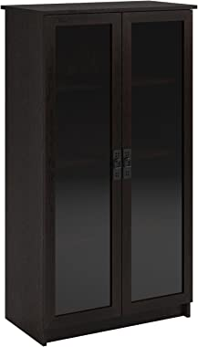 Ameriwood Home Quinton Point Glass Door Bookcase, Espresso