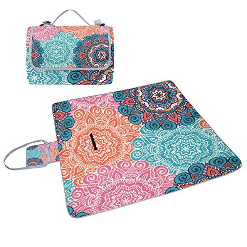COOSUN Mandala Picknick-Decke Tasche Handy Mat Schimmel resistent und wasserdicht Camping-Matte für rving, Picknickdecke, Strand, Wandern, Reisen und Ausflüge