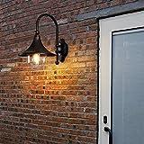 Lámpara de Pared Aplique Luz de Soporte Luz Americana Retro Negro Aluminio Luz de Pared Bocina Creativa Altavoz Impermeable Al Aire Libre Aplique de Pared de Metal Linterna Patio Europeo Villa Jardín