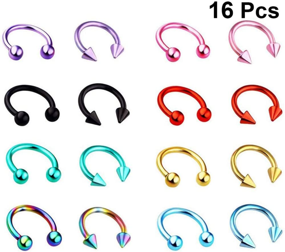 NUOBESTY 16Pcs Nose Rings Studs Stainless Steel Nose Rings Hoop Body Piercing Jewelry Set for Women