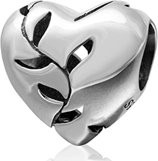 Ollia Jewelry 925 Sterling Silver Bead Love Heart Charm Willow Leaf Charm Tree Bead Glossy Charm Openwork Charms