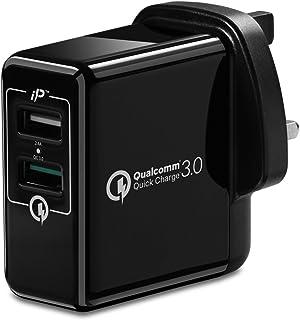 Spigen Essential F207 Fast Universal USB Wall Charger UK Plug - Black - Quick Charge QC 3.0 IP Technology charging Portabl...