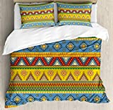 Conjunto de funda nórdica azteca, imagen tradicional de la cultura mexicana del sol de estilo tribal tradicional clásico, juego de cama decorativo de 3 piezas con 2 fundas de almohada, amarillo anaran