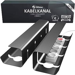 Gestion des câbles Stilemo, Set de 2 - Organisateur de câbles pour ranger les câbles - Plateau de rangement cable (noir) -...