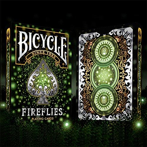 LuxTri Bicycle Fireflies | Glühwürmchen, Pokerkarten, Playing Cards, Spielkarten + 3 ''Look & Feel''-Karten, Juniardi Satyanagara, Exklusives Siegel, Cardistry, Poker,, Pokerdeck, Kartenspiel