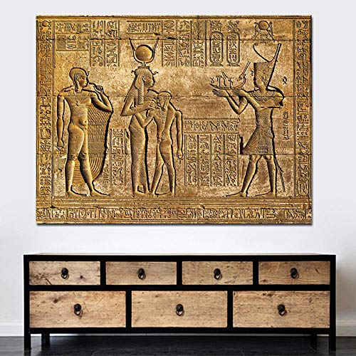 ZDanYA Jeroglíficos egipcios Fresco Lienzo Pintura Reina Hatshepsut Templo Talla de Piedra Faraón Antiguo Egipto Pared Mural Cartel Print 40x50cm Sin Marco