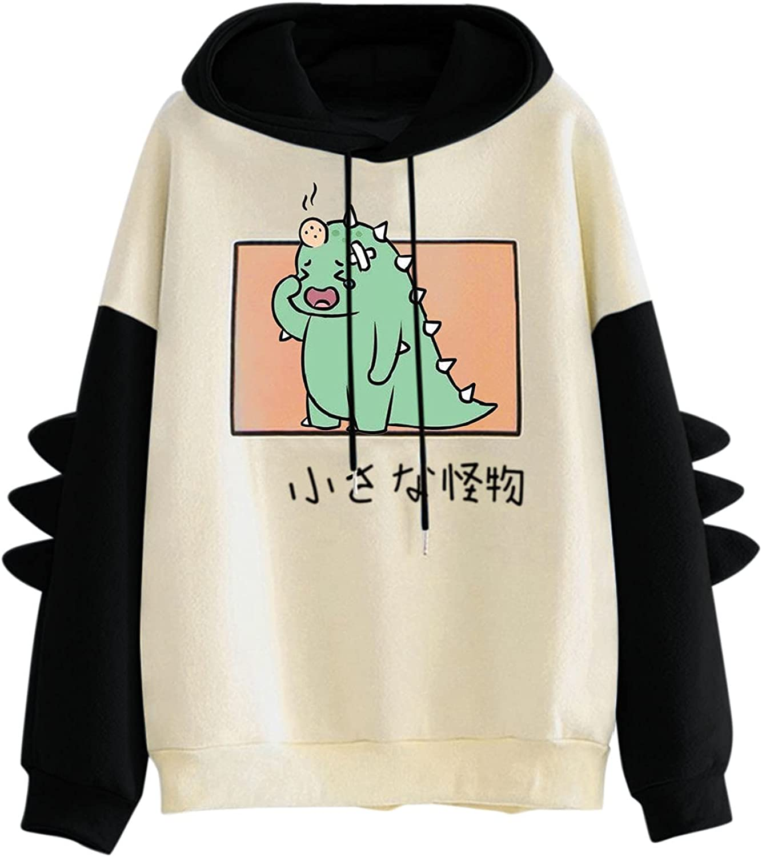 Dinosaur Hoodies Sweatshirt for Women Casual Long Sleeve Cute Cartoon Splicing Hoodies Teens Girls Pullover Tops
