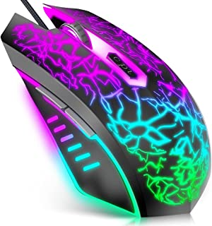 VersionTECH. Gaming Mouse, Souris Ergonomic Wired Gaming Mice with 7 Colors LED Backlight, 4 DPI Settings Up to 3600 DPI C...