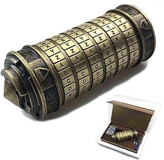 Aiya Leonardo da Vinci código Juguetes Metal Cryptex cerraduras Regalos de Boda día de San Valentín Regalo Carta contraseña Escape cámara apoyos Creativo cumpleaños Regalo Divertido Juguete