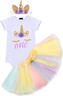 Baby Kid Girls 1st Birthday Unicorn Outfit Costume Cake Smash Floral Romper Tulle Tutu Skirt with Headband Photo Props
