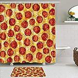 RUBEITA 2-teiliges Duschvorhang-& Matten-Set,Peperoni Pizza Nahtloses Essen,rutschfeste Teppiche,wasserdichte Badvorhänge mit 12 Haken