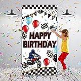 Telón de Fondo de Fotografía de Motocross Bandera de Puerta de Carreras de Motos de Cross Fondo de Pista de Neumáticos Globos de Happy Birthday Decoración de Pared, 70,9 x 35,4 Pulgadas