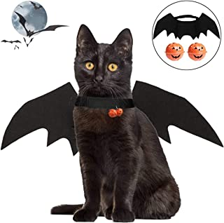 LAWOHO Halloween Pet Costume - Pet Bat Wings with 2 Pumpkin Bell Vampire Cosplay Combination Small Cats & Dogs Funny Holid...