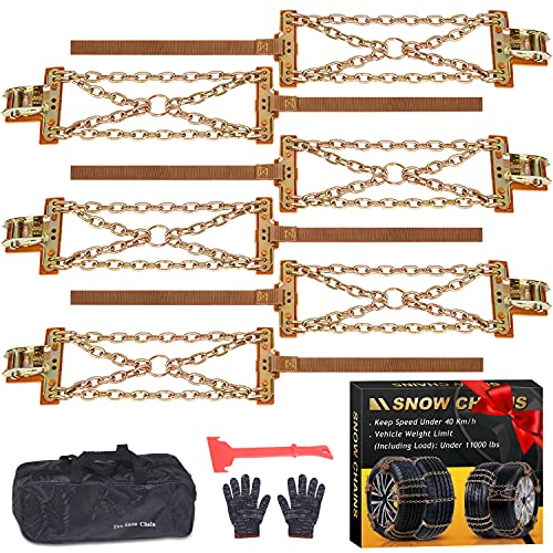 Tire Chains, Snow Chains for suvs, Cars, Sedan, Family Automobiles,Trucks with Update Adjustable...