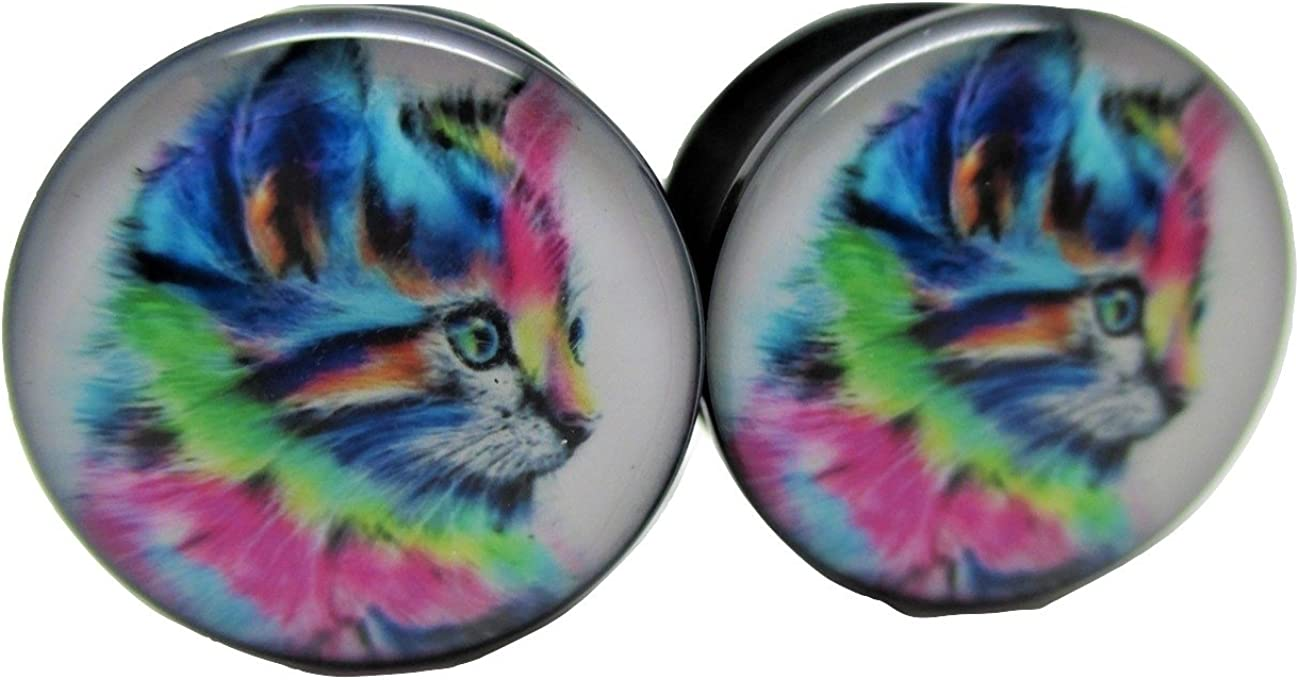Pierced Republic At the price of surprise Colorful Kitten Ear Las Vegas Mall Acrylic Screw-On Plugs -