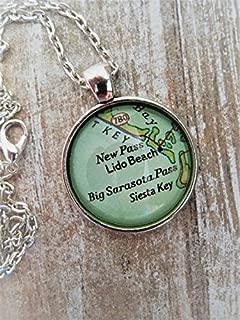 Custom Map Jewelry, Lido Beach Siesta Key Sarasota Florida Vintage Map Pendant Necklace, Personalized Gifts, Map Cuff Links, Groomsmen Gifts
