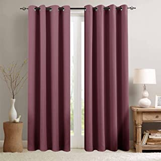Room Darkening Curtains for Bedroom 84-inch Length Light Reducing Window Curtain Panels for Living Room Triple Weave Moderate Blackout Window Curtains, Grommet Top, 2 Panels, Plum