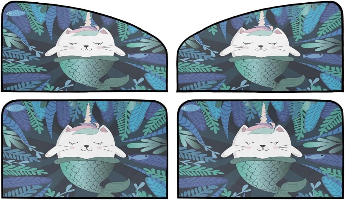 4 Piece Set Magnetic Car Max 52% OFF Roller Shade - Cat Popular popular Fun Unicorn Magic an