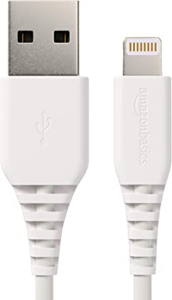 AmazonBasics Lightning to USB A Cable, MFi Certified iPhone Charger, White, 6 Foot