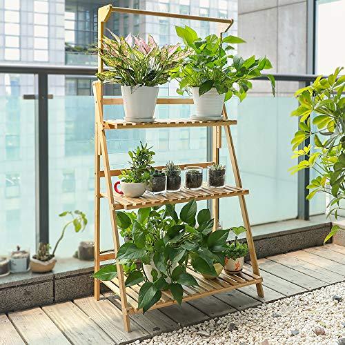 TOLEAD Bambus Blumentreppe,3-stufiger Faltbarer Pflanzenregal, Pflanzentreppe Balkon, Solide und Langlebige Goße Kapazität, 2021 Neu