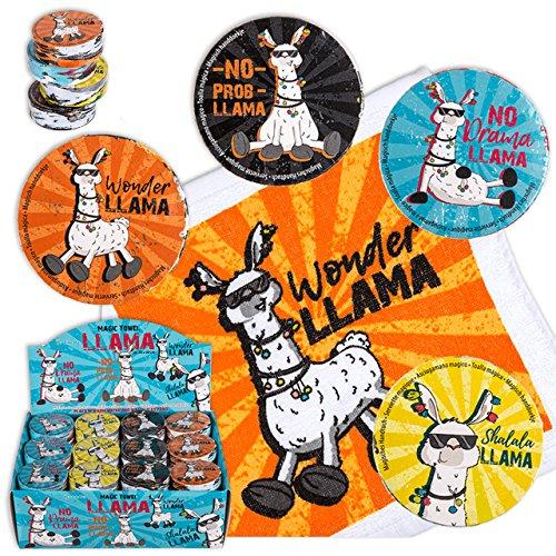 Out of the blue 8X Magische handdoek Lama 30cm dier washandje kinderen meegebsel