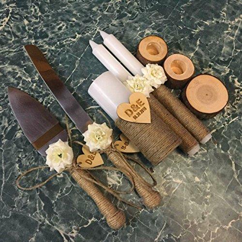 Personalized Unity Candle Set, Custom Wedding Cake Knife and Server Set with White Flowers, Rustic Wedding Ceremony Decoration Wedding Gift