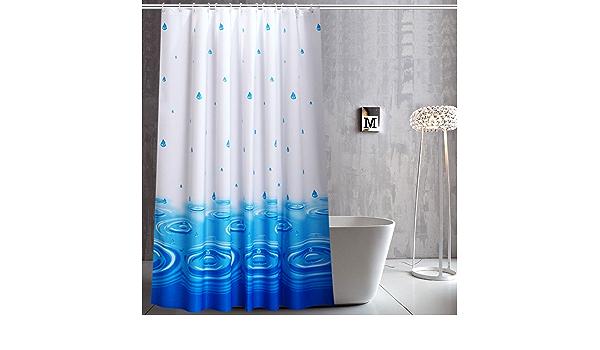 Azul, 120 x 200 cm HAOJH Cortinas de Ducha Cortina de Ducha Suave Impermeable con Ganchos para ba/ño Cortina de ba/ño de Tela de poli/éster Lavable Anti-Moho