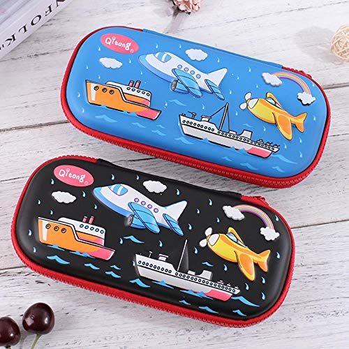 Pencil Box 3D Relief Stationery Box Junior High School Pencil Box Large Capacity Pencil Primary School Students,Aircraft