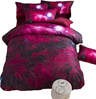 TONGDAUS Galaxy Bedding Girls Twin Size Red and Black Duvet Cover Set 3 Pieces 1 Galaxy Comforter 2 Pillowcases (Size : 2002304)