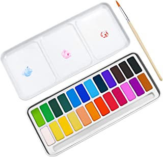 Kuqqi Watercolor Paint Set with Brush Pen 24 Colors Travel Case Watercolor Set for Artists Students Kids Art Crafts Sketch...