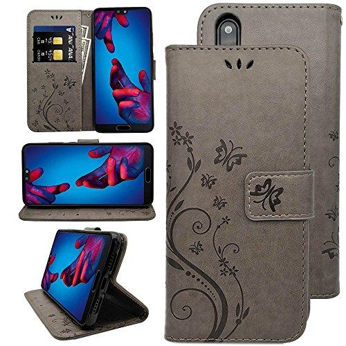KUAWEI Huawei P20 Hülle Wallet Hülle Flip Cover Handy Schutzhülle Kunstleder mit Kartenfach & Standfunktion Handycover Klapphülle Etui im Bookstyle Magnetverschluss für Dein Huawei P20 5.8