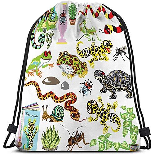 BOUIA Gym Reizen Yoga Casual Trekkoord Tas terrarium set cartoon reptielen amfibieën insecten dieren wit Cool