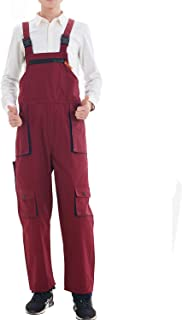 Frecoccialo Mens Bib and Brace Dungarees Overalls Suit Workwear for Painters Builders Slim Fit Jumpsuit with Zipper Pockets