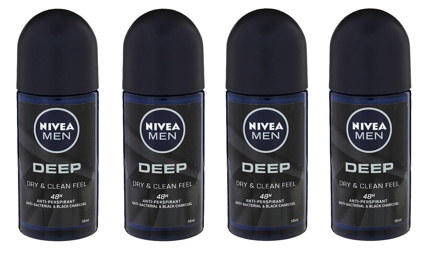 メロドラマ周辺離れて(Pack of 4) Nivea Deep Anti-perspirant Deodorant Roll On for Men 50ml - (4パック) ニベア深い制汗剤デオドラントロールオン男性用50ml