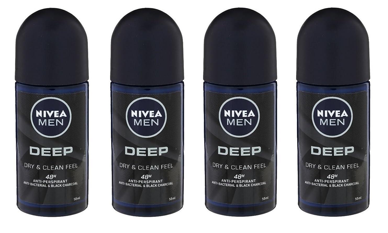 グラフピアニスト週末(Pack of 4) Nivea Deep Anti-perspirant Deodorant Roll On for Men 50ml - (4パック) ニベア深い制汗剤デオドラントロールオン男性用50ml