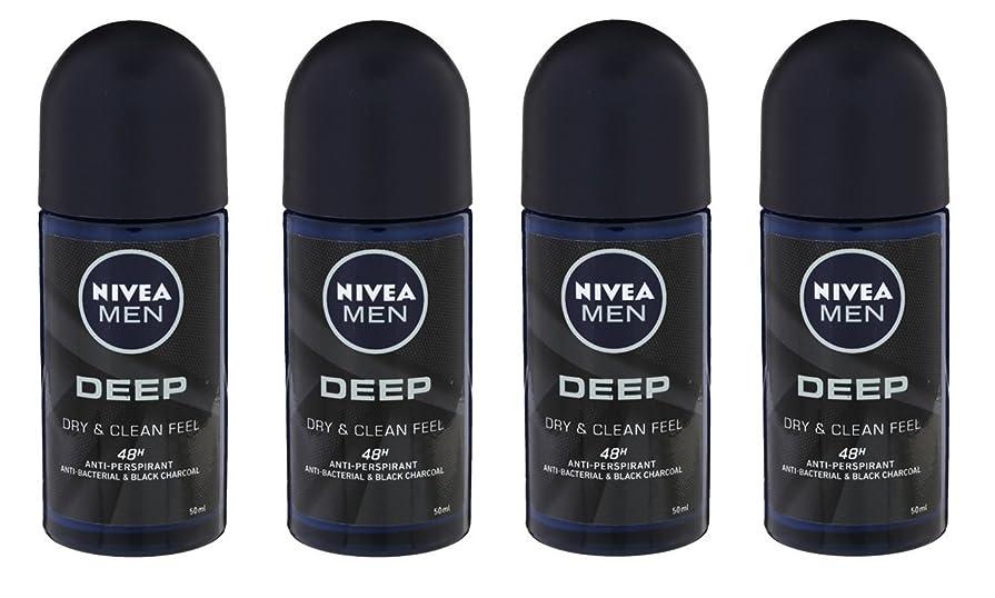 死んでいる黄ばむ意識的(Pack of 4) Nivea Deep Anti-perspirant Deodorant Roll On for Men 50ml - (4パック) ニベア深い制汗剤デオドラントロールオン男性用50ml