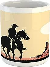 Ambesonne Western Mug, Image Art of Cowboy Riding Horse Towards Sunset in Wild West Desert Hero, Ceramic Coffee Mug Cup for Water Tea Drinks, 11 oz, Yellow Orange