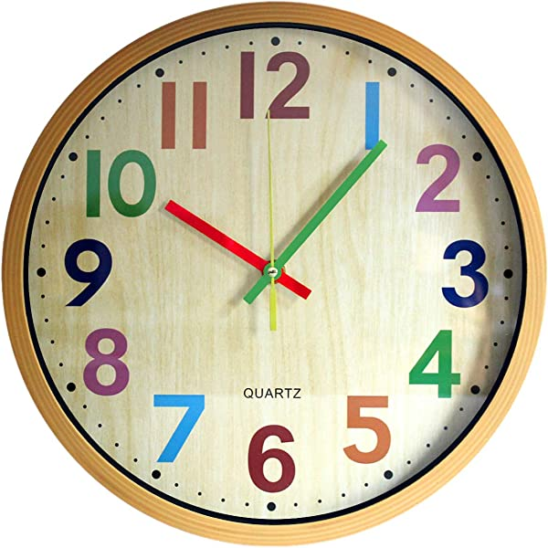 TOHOOYO Wall Clock 12 Inch Easy To Read Silent Non Ticking Colorful Battery Operated Clock For Bedroom Living Room Kitchen Office School Classroom Yellow