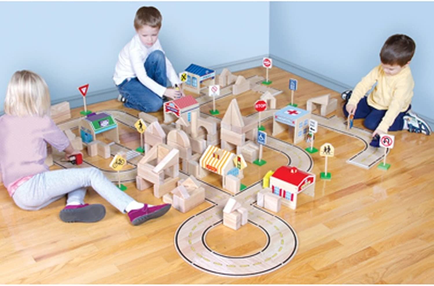 Guidecraft Roadway System  42 Piece Set  Kids Educational Learning Playset