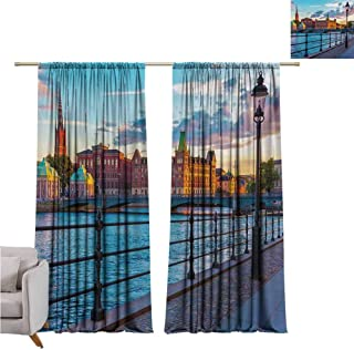Andrea Sam Grommet Curtains Cityscape,Scandinavian Stockholm Old Town Sweden by Lake Gamla Stan View Autumn Day Scenery,Multicolor W96 x L108 inch,Room Darkening Thermal Insulated