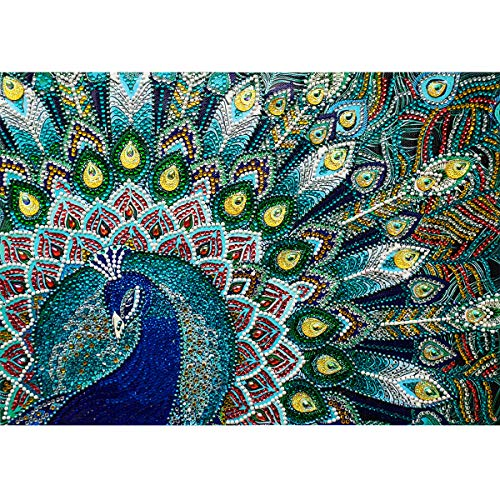 MXJSUA DIY 5D Special Shape Diamond Painting by Number Kit Crystal Rhinestone Round Drill Picture Art Craft Home Wall Decor 12x16In Blue Green Peacock