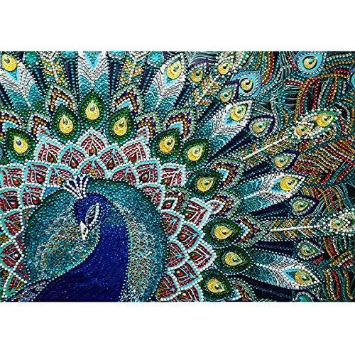 MXJSUA DIY 5D Pintura de Diamante de Forma Especial por número Kit Crystal Rhinestone Round Drill Picture Art Craft Home Decoración de Pared 30x40 cm Azul Verde Pavo Real