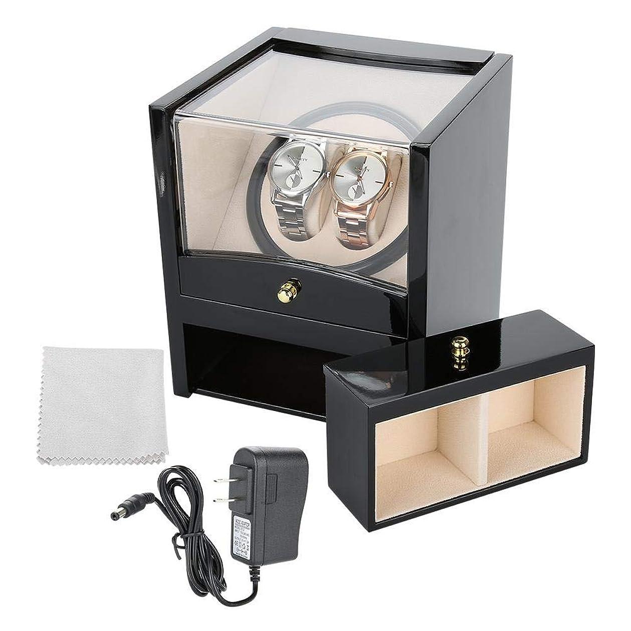 漁師ペニーペイントSalmue自動腕時計ワインダー2 + 2ピアノ塗料収納ディスプレイ回転ボックス、自動巻き時計ボックス、サイレントモーター付き、米国規格100-240V