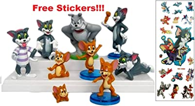 California Trader Tom and Jerry 9 Piece Play Set Plus Stickers with 9 Tom, Jerry, and Spike Figures Cake Toppers and Toy Figures Great for Gifts