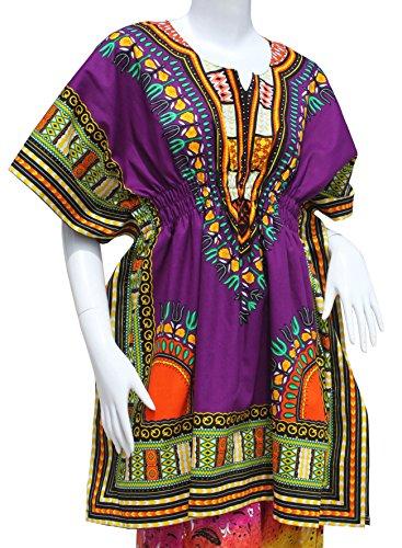 RaanPahMuang Dashiki Colorful Shirt Women Short Sleeve Elastic Waist Open Collar, Medium, Dark Purple