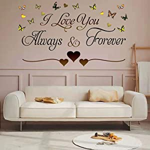 Brown Vinyl Wall Stickers I Love You Always & Forever Wall Sticker Murals Home Wall Art Decor Wall Decals for Couple Bedroom Living Room Girls Room Tv Background.