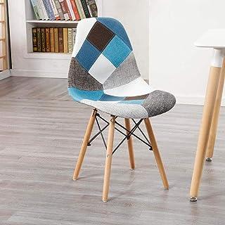 4 sillas de Comedor Patas de Madera de Tela de Retazos Estilo Minimalista nórdico para el hogar Cocina Oficina Salón Salón Comedor (Color: Rojo)