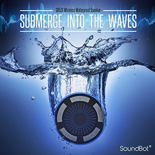 SoundBot IPX7 Waterproof 5W Bluetooth Wireless Shower Speaker with 8Hrs Playback, Built-in FM Radio Tuner, LED, Premium HD Sound, Water Weather Resistant Portable Speakerphone, SB531 (Grey)