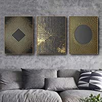 モダンクラシック抽象ゴールドサークルツリーテクスチャポスターとプリントアートワークキャンバスプリント家の装飾絵画(50x70cm)3pcsフレームレス